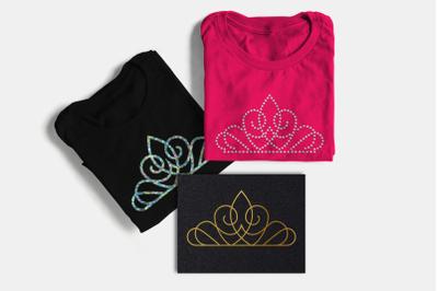 Princess Tiara Trio Including Sketch & Rhinestone | SVG | PNG | DXF