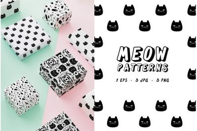 Meow Patterns - Cute pet cat patterns EPS, PNG, JPG