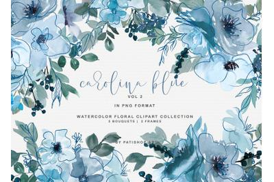 Pastel Blue Watercolor Floral Doodles