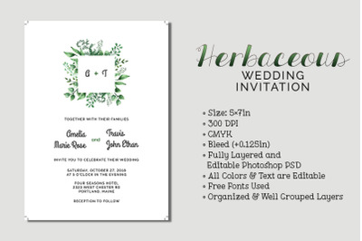 Herbaceous Wedding Invitation
