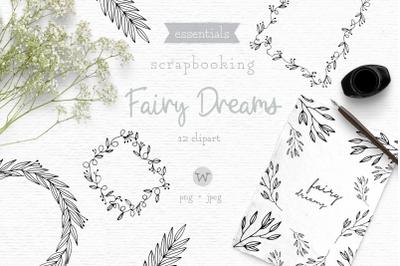 Floral wreath clipart, digital stamps, frame clipart, doodle