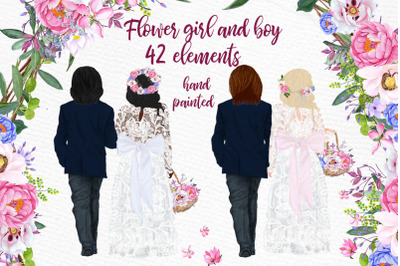 Wedding clipart Flower Girl and Page boy Floral Wedding Gate