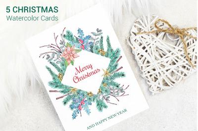 Greeting Christmas Cards Set
