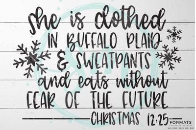 Buffalo Plaid Woman's Funny Christmas SVG
