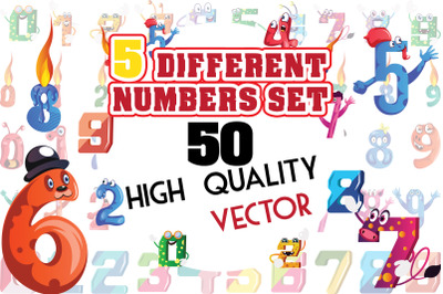 50X 5 different numbers Expression Illustrations