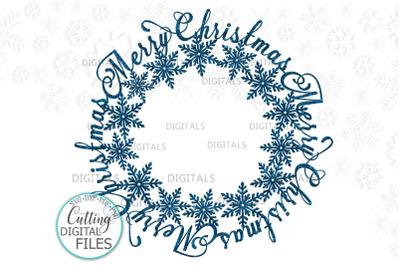 Merry Christmas Snowflakes Monogram frame for name svg cut