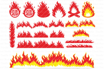 Fire SVG, Flames SVG,  Flame Monogram,  Campfire.  Clipart