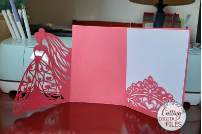 Princess Bride Princess Crown Wedding Trifold template svg