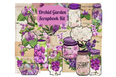 Orchid Garden  Printable Digital Scrapbook Kit