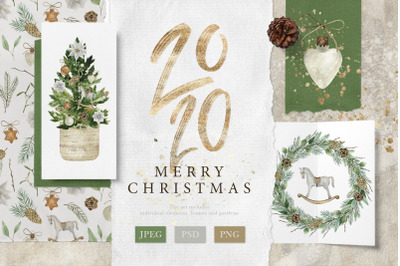Merry Christmas-Watercolor Set