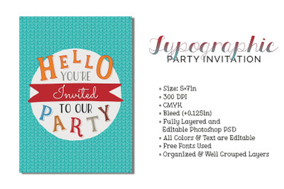 Typographic Party Invitation