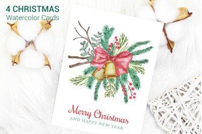 Christmas Cards Watercolor Clipart