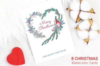 Christmas Cards. Watercolor Decoration