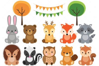 Woodland Baby Animals Clipart