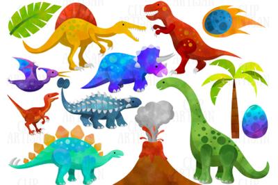 Watercolor Dinosaurs Clipart, Prehistoric Clip Art