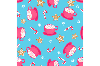 A cup of hot cocoa with candy cane and gingerbread star. Seamless patt