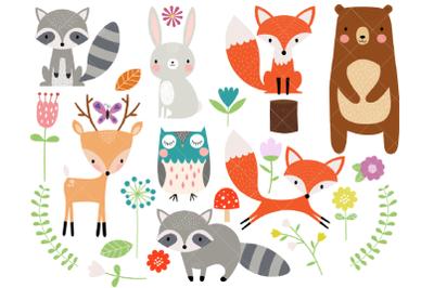 Woodland Animal Clipart | Fox | Bear | Raccoon | Deer | Owl
