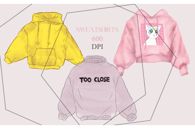 3 sweatshirts, clothes illustrations colorful hand-drawn set