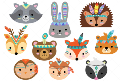 Tribal Animal Faces Clipart, Woodland Animal Faces