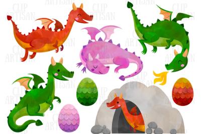 Dragon Clipart, Watercolor Dragons Clip Art