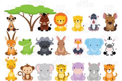 Safari Baby Animals Clipart / Jungle Animals / Zoo Animals