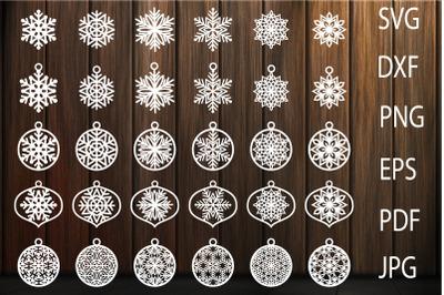 Christmas Decorations, Christmas Balls SVG, Snowflakes SVG