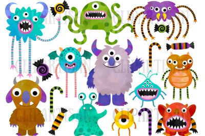 Watercolor Monsters Clipart, Halloween Illustrations