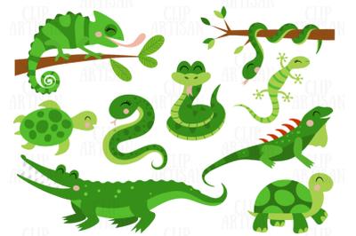 Reptiles Clipart, Chameleon, Crocodile, Lizard, Snake, Turtle