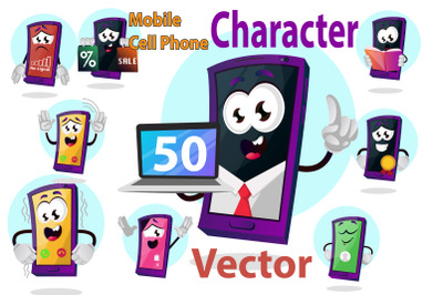 50X Mobile Cell Phone Character Illustrations