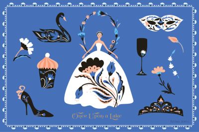 Swan Lake Clip Art Ballet Russian Inspired Fairy Tale Moscow Kremlin Cupcake Stileto Eastern Folk Pattern Mask Crown Princess Dance Wreath
