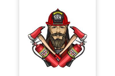 Hand drawn sketch fireman icon1