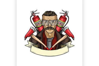 Hand drawn sketch fireman icon 3