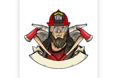 Hand drawn sketch fireman icon 5