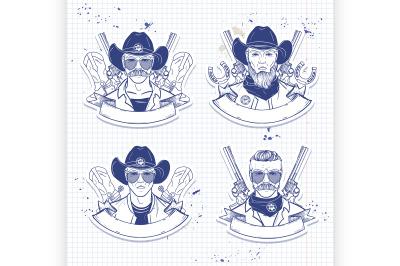 Hand drawn sketch cowboy set 3