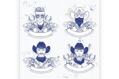 Hand drawn sketch cowboy set 5