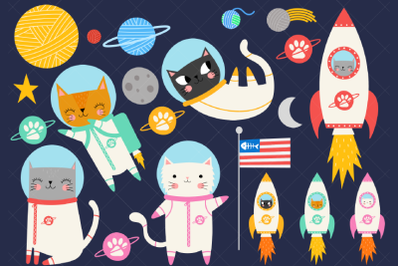 Space Cat Clipart, Astronaut Kittens