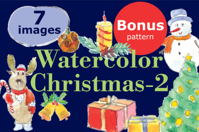 Watercolor Christmas-2+bonus!