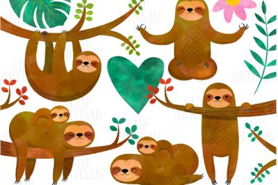 Watercolor Sloths Clipart