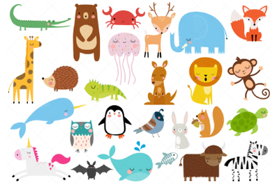 Animals of the Alphabet Clipart, A to Z Animals