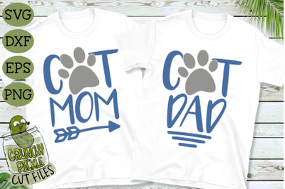 Cat Mom and Cat Dad Matching SVG Files