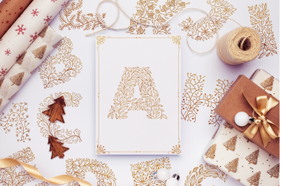 Christmas Floral SVG Alphabet