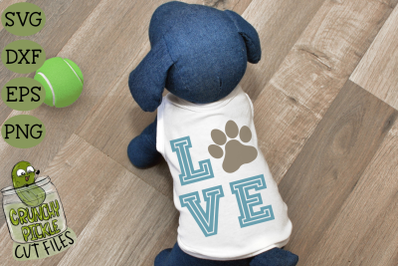 Love Dog Paw Print SVG File