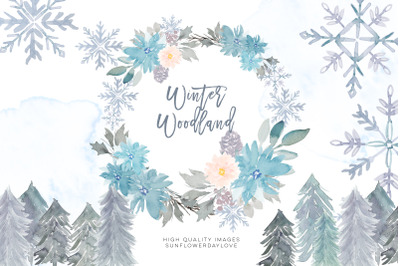 Woodland Winter Clipart Frame, Snow Holiday Gold Frames