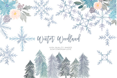 Watercolor holiday clipart, greeting card watercolor elements