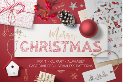 CHRISTMAS font - clipart - patterns