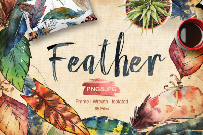Feather bird PNG watercolor set