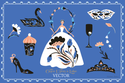 Vector Clip Art Set - Swan Lake Ballet, Moscow, Kremlin, Crown, Eastern Pattern, Fairytale Folklore