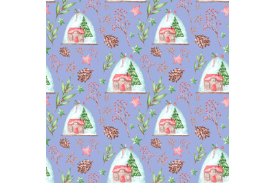 "Watercolor seamless pattern ""Winter Christmas House""."