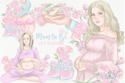 Mother to be PNG Clip Art. Pregnancy Baby Shower Girl graphics. Mommy