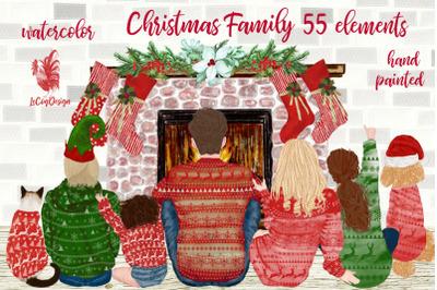 Christmas family clipart Fireplace Christmas stockings